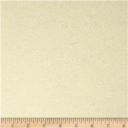 Whisper Prints Large Flower Tonal Ivory