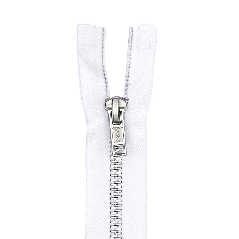 "Coats & Clark Heavy Weight Aluminum Separating Zipper 24"" White"