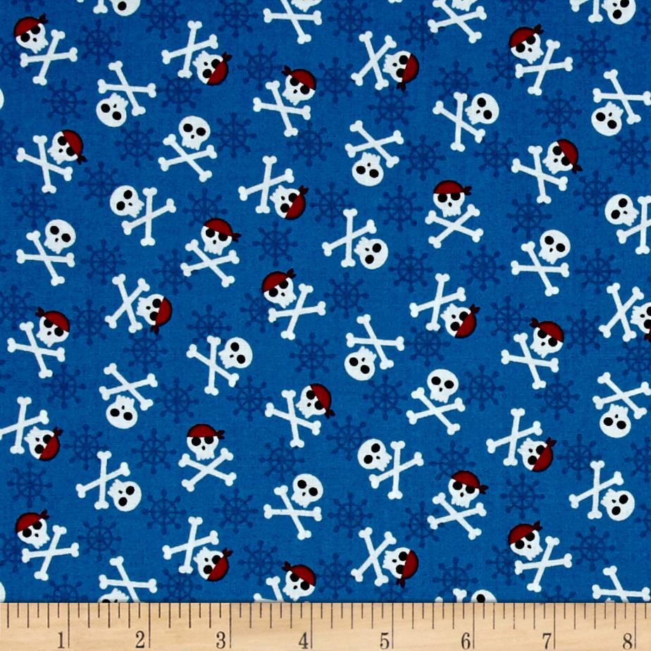 Kaufman Fabulous Foxes Crossbones Blue