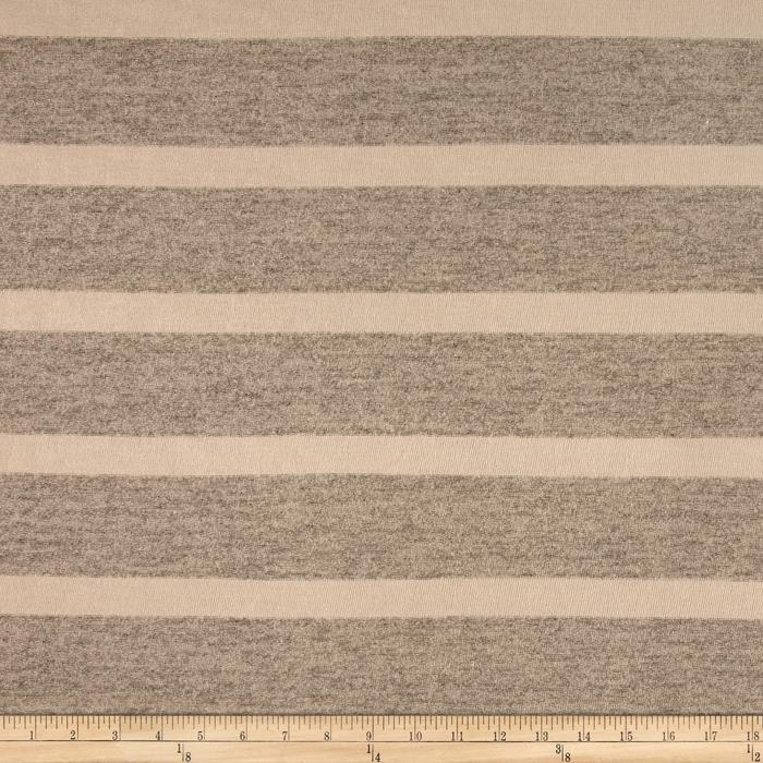 Sweater Knit Stripe Grey Ivory
