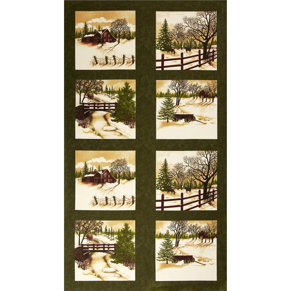 Moda through the winter woods panel barn red