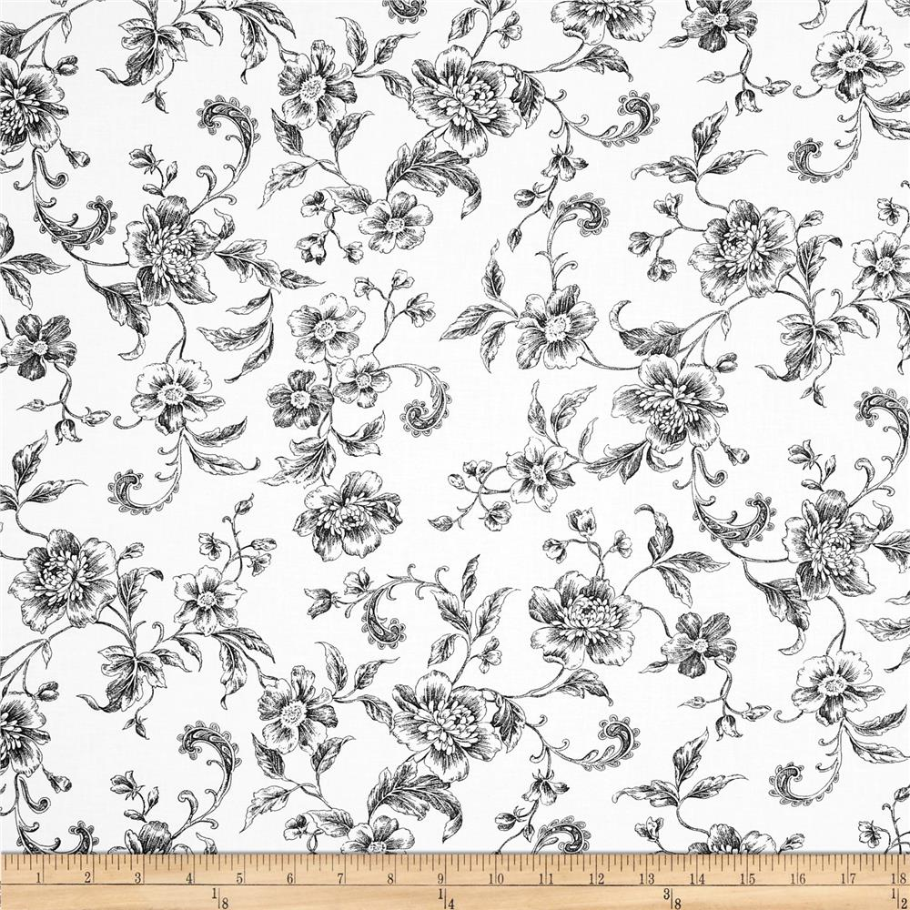 "108"" Wide Whisper Print Floral Toile Black - Discount ..."