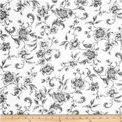 "108"" Wide Whisper Print Floral Toile Black"