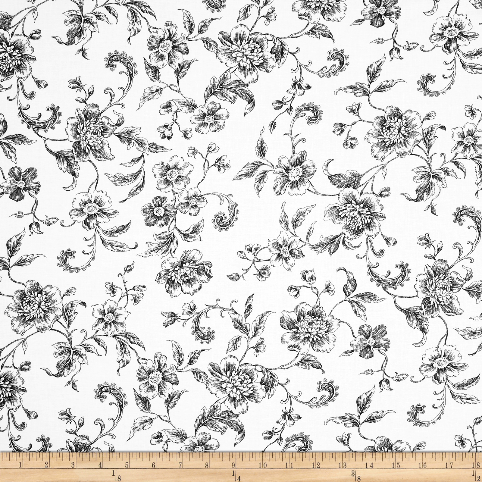 108'' Wide Whisper Print Floral Toile Black Fabric