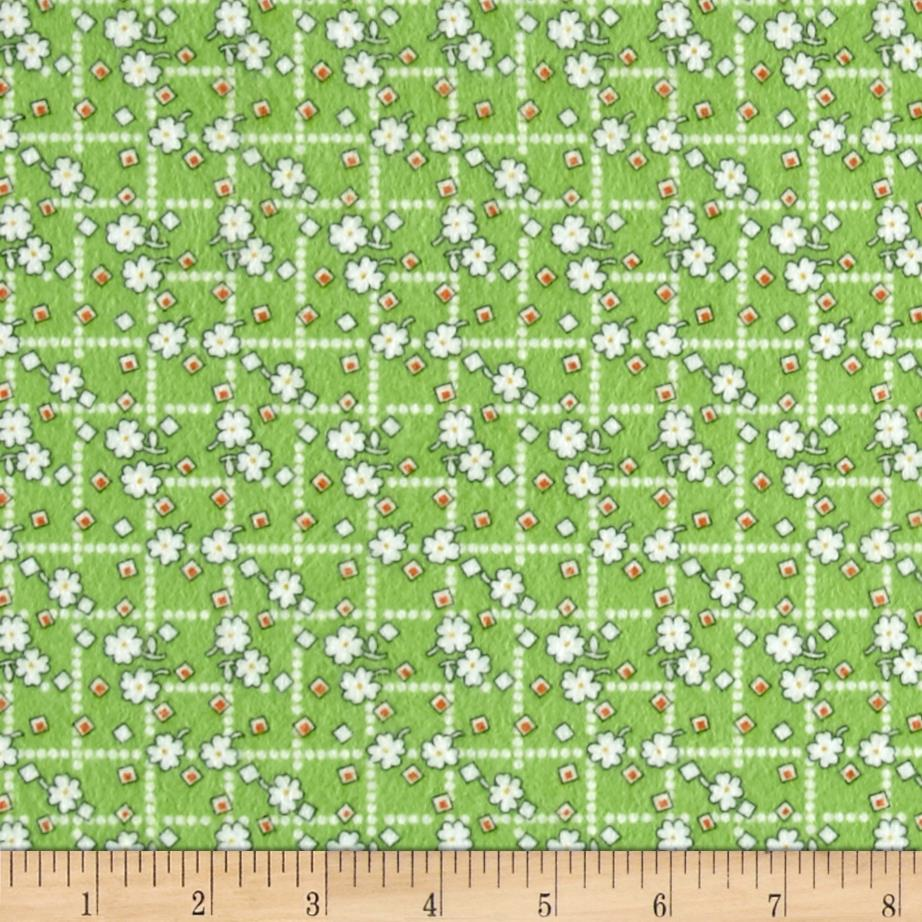 Storybook Flannel Diamonds And Daisies Green