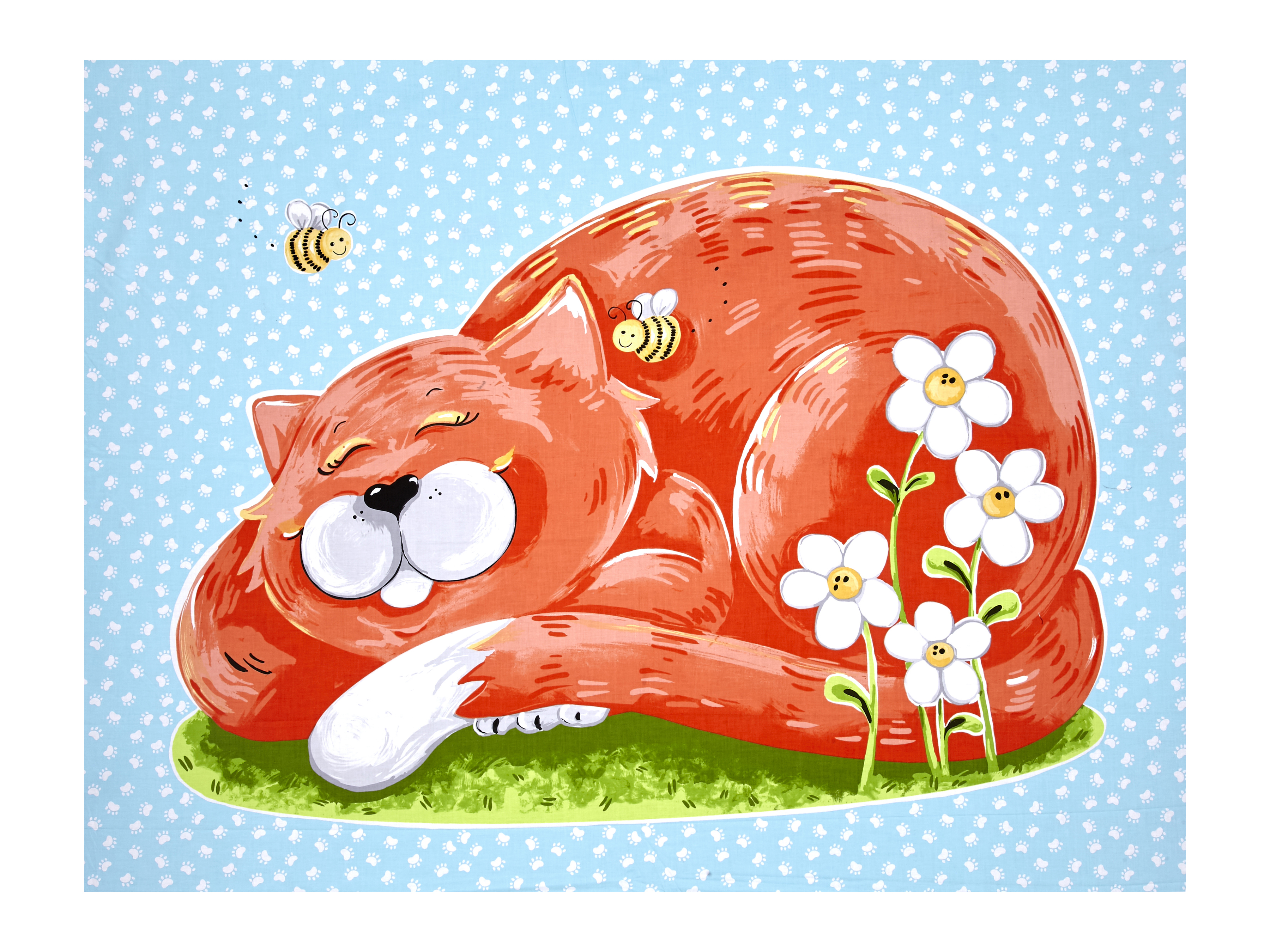 Susybee Purrl the Cat Playmat Panel Multi Fabric by Susybee in USA