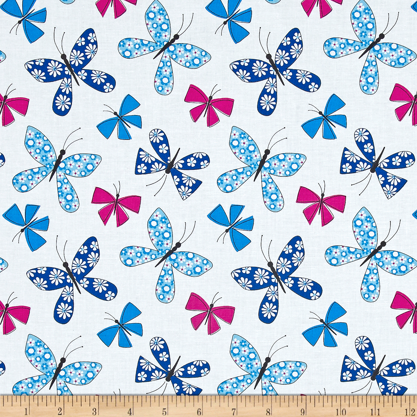 Michael Miller Saturday Morning Chasing Butterflies Blue Fabric by Michael Miller in USA