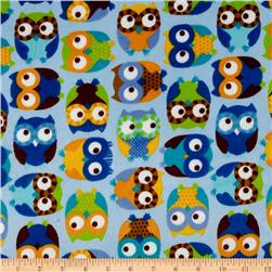 Minky Softie Owls Blue Fabric