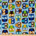 Timeless Treasures Minky Softie Owls Blue