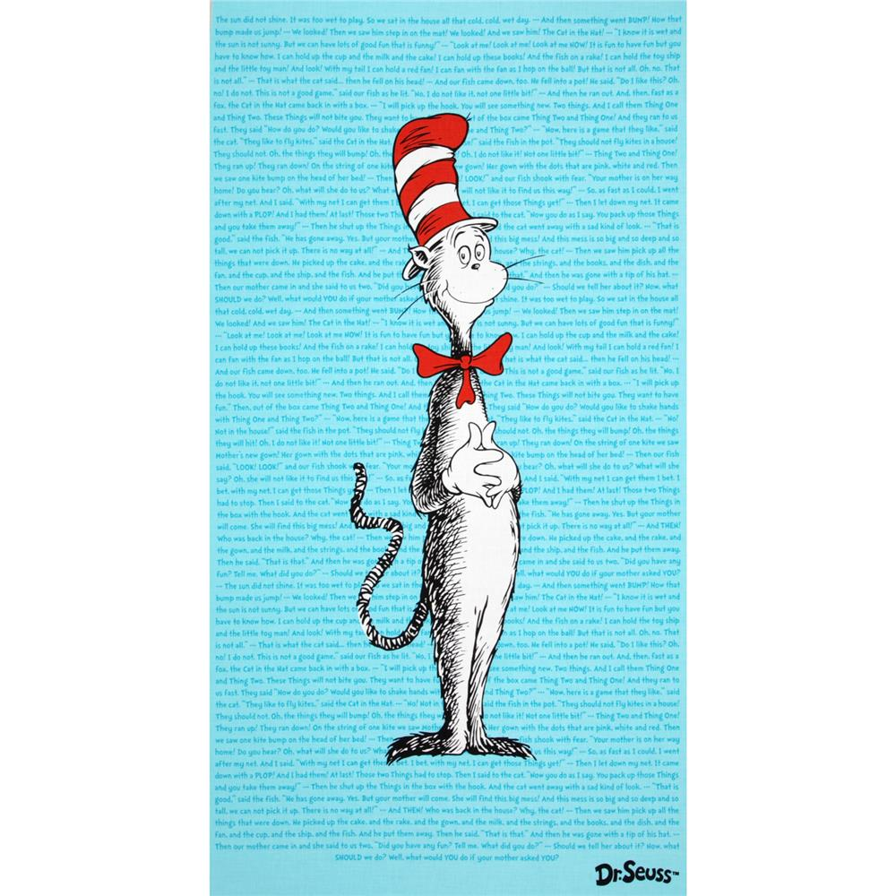 The Cat In The Hat Panel Blue Fabric By The Yard