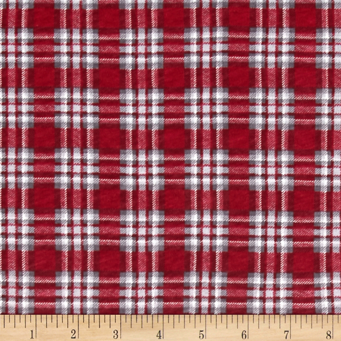 Cotton Jersey Knit Christmas Plaid Fabric By The Yard