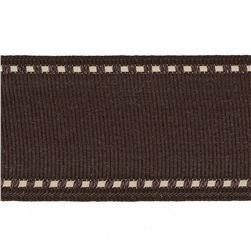 "1 1/2"" Grosgrain Stitched Edge Ribbon Brown/Ivory"
