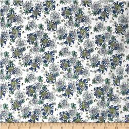 Cotton Lawn Print Floral Green/Blue