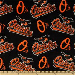 MLB Fleece Baltimore Orioles Allover Orange/Black Fabric