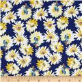 Chiffon Print Daisies Blue/Yellow