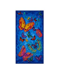 "Timeless Treasures Monterey 24"" Butterfly Panel Blue"
