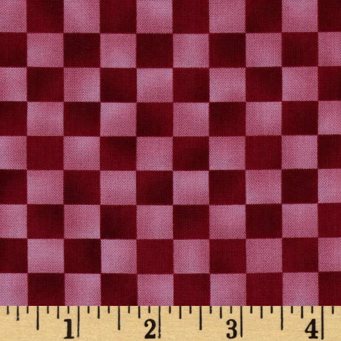 Graphix Checkered Pink Red Fabric