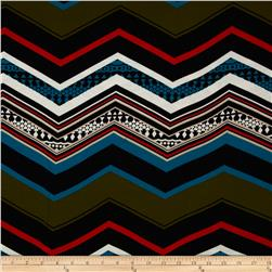 Cotton Lycra Jersey Knit Chevron Multi