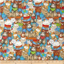 Fabri-Quilt Cuddle Flannel Cats Blue