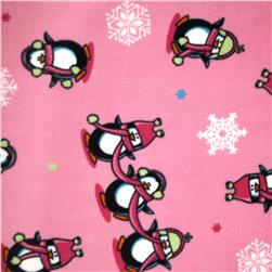 Fleece Penguins Pink Fabric