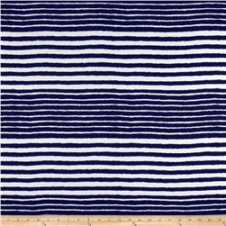 Misty Stretch ITY Slub Jersey Knit Stripes Dark Blue/Off White