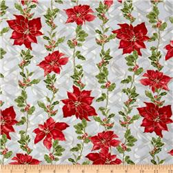 Ribbons & Holly Poinsettia Metallic Ice