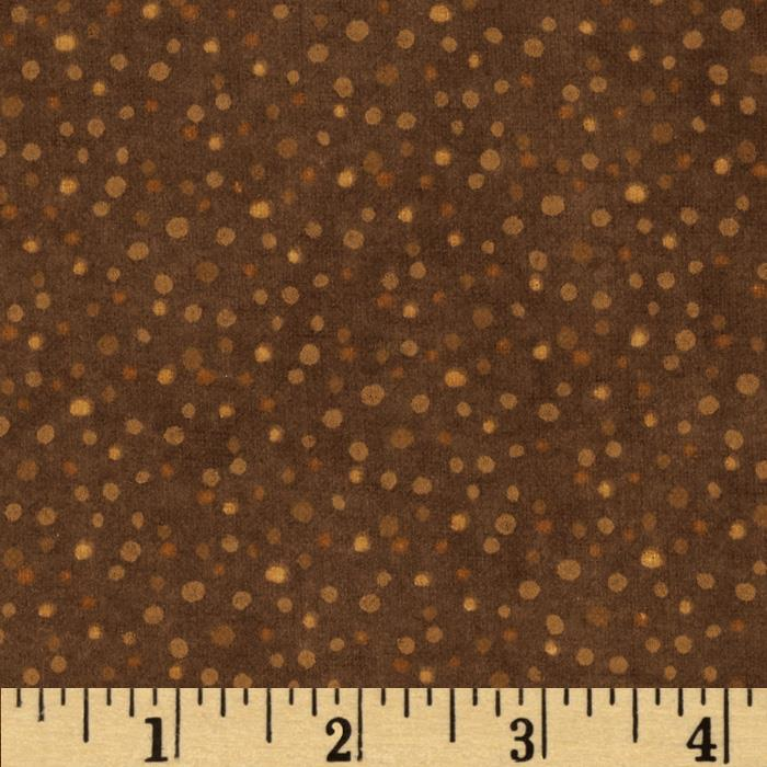 Essentials Flannel Petite Dots Brown Fabric