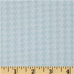 Designer Stretch French Terry Knit Houndstooth Aqua/White