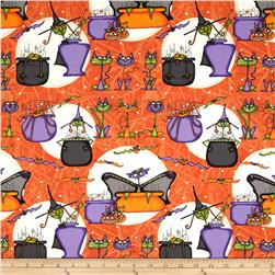 Cats Bats & Vats Large Allover Orange