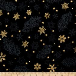 Kaufman Holiday Flourish Metallics Snowflake & Sprigs Black