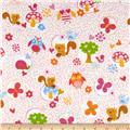 Flannel Forest Animals Polka Dot Pink