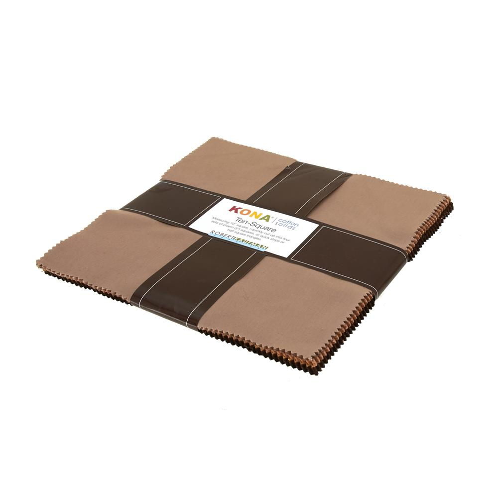 "Kaufman Kona Solids Sediment 10"" Layer Cake"