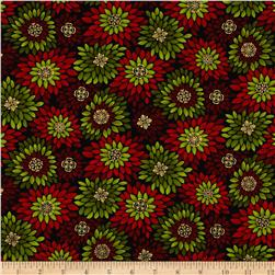 Golden Holiday Metallic Poinsettia Burst Red/Green