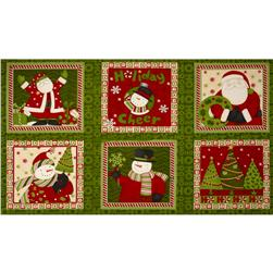 Christmas Squares Panel Green/Red