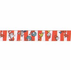 "7/8"" Dr. Seuss Character Stripe Ribbon Red"