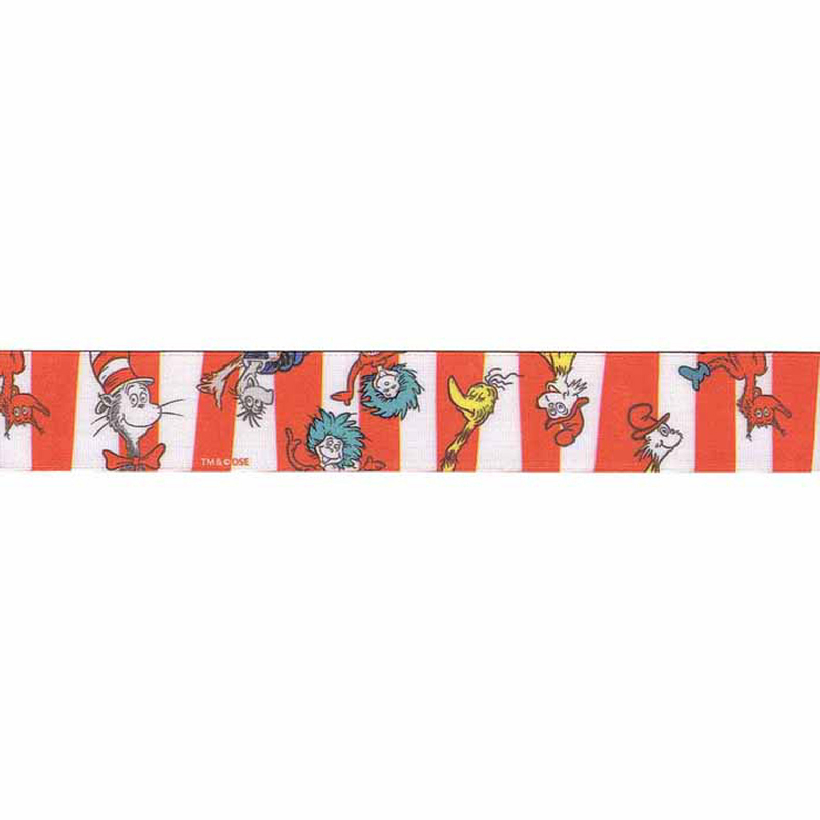 7/8'''' Dr. Seuss Character Stripe Ribbon Red