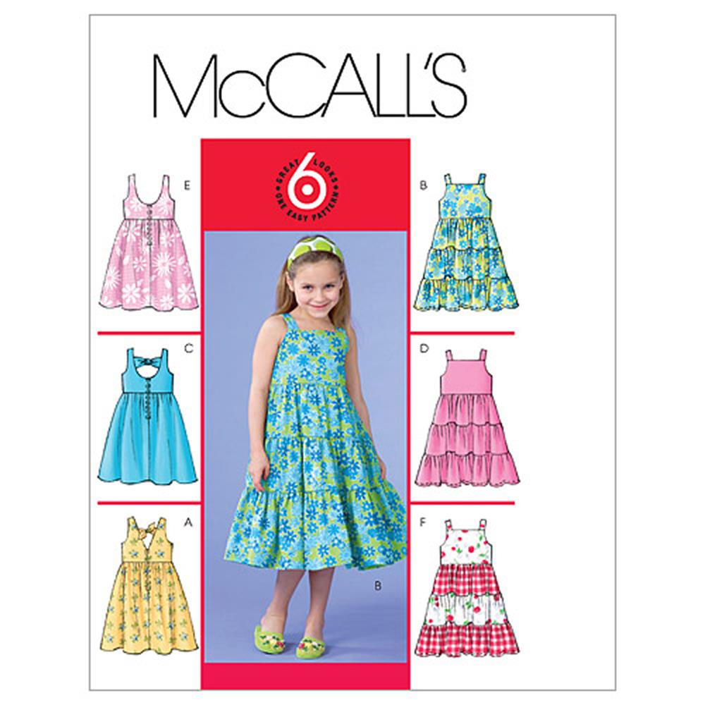 Mccall 39 s children 39 s girls 39 dresses pattern m4817 size cdd for Kids pattern fabric