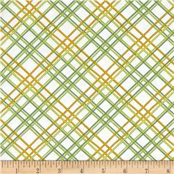 Gramercy Hudson Plaid White/Green Fabric