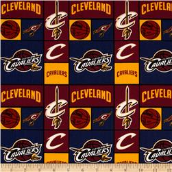 NBA Cotton Broadcloth Cleveland Cavaliers Patch Blue Fabric