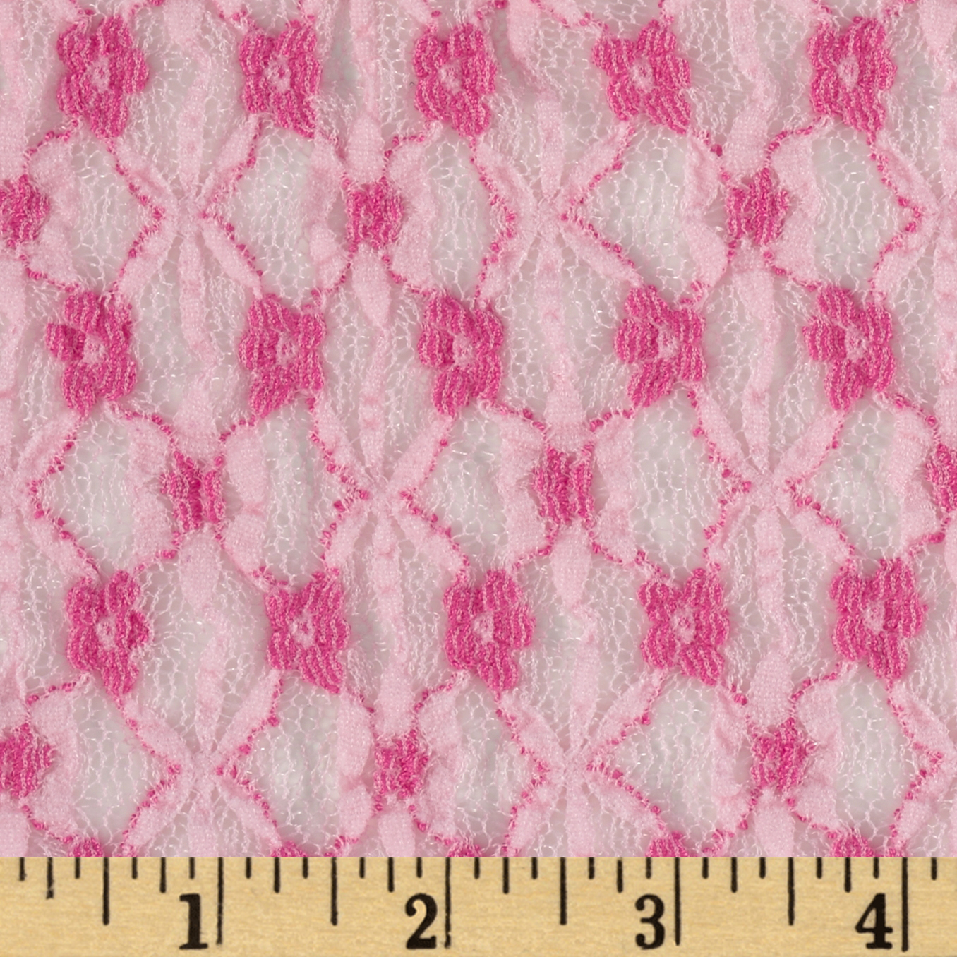 Pucker Lace Flowers Pink Fabric
