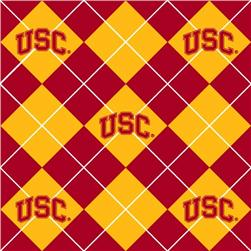 Collegiate Fleece University of Southern California Argyle Fabric