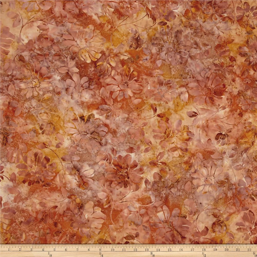 Timeless Treasures Tonga Batik Autumn Floral Scroll