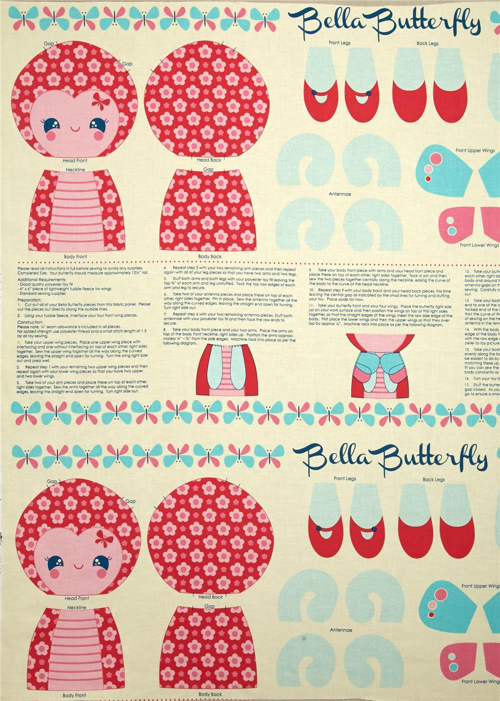 Riley Blake Flutterberry Panel Pink Fabric By The Yard