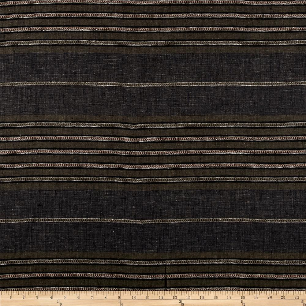 100% European Linen Striped Shirting Olive Multi