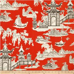 Waverly Peaceful Temple Chintz Lacquer Fabric