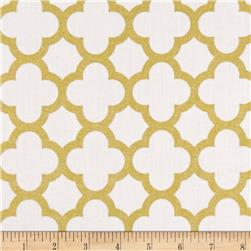 Riley Blake Gold Sparkle Quatrefoil Gold