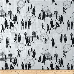 Rush Hour Commuters White Fabric