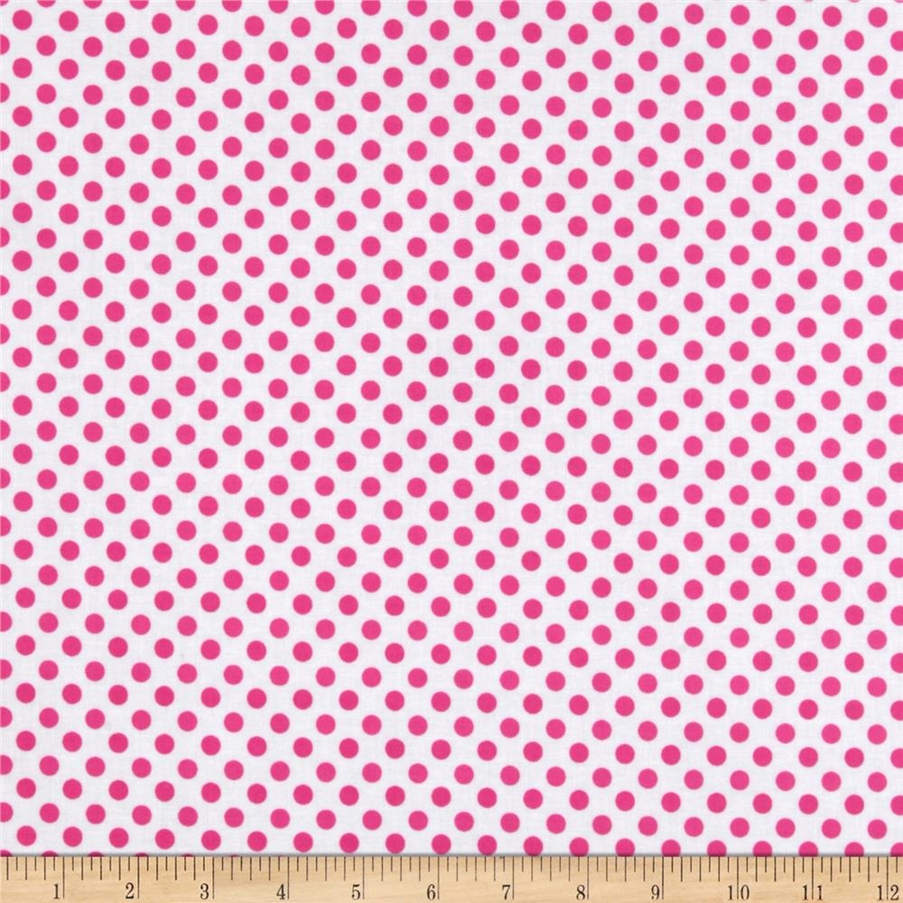 Riley Blake Laminate Small Dots White/Hot Pink