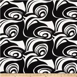Stretch Poplin Abstract Midnight Black/White