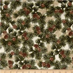 Kanvas Into the Woods Flannel Northern Pines Cream/Green